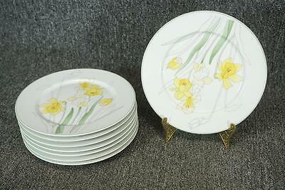 "Block Spal Watercolors Daffodil Pattern Salad Plates 8"" Set Of 8"