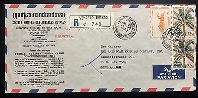 Cambodia Cambodge Registered Cover From Siemreap Angkor To Zurich 1967
