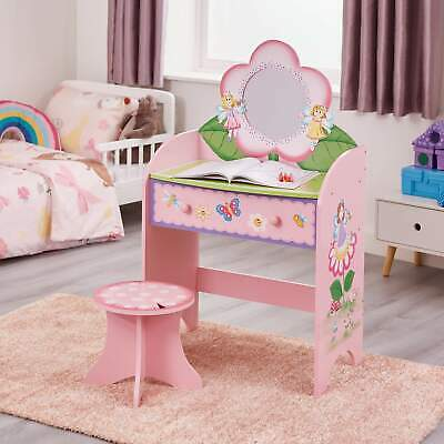 Children Furniture Kids Girls Fairy Butterfly Dressing Table And Stool