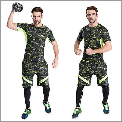 Men Compression Armour Base Layer Short Sleeve Shirt Gym Sports Top Skin Fit Wan