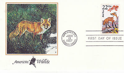 United States 1987 American Wildlife Red Fox First Day Cover Capex Fdi