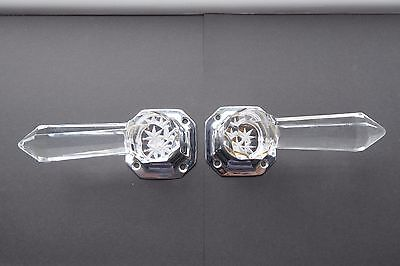 Pair Of Vintage, Art Deco, Lucite Lever Door Handles With Chrome Plate
