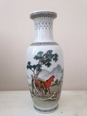 Rare Antique Chinese Porcelain Hand Painted Vase Horses And Script