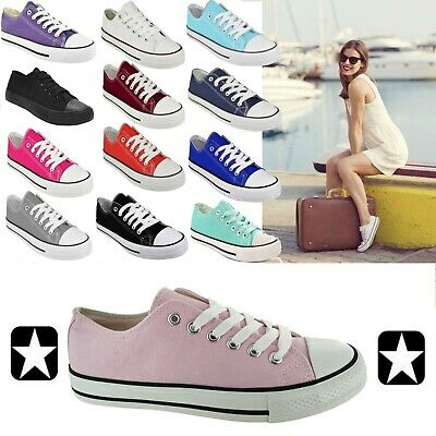 Ladies Metallic Canvas Lace Up Plimsolls Flat Beach Shoes Trainers Casual Pumps