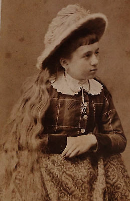 Antique Cdv Photo Girl With Long Wavy Hair Wearing Lovely Plaid Dress & Hat