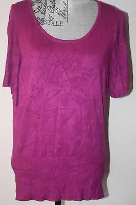 NWT White House Black Market Pink Magenta Knit Scoop Neck Sweater L