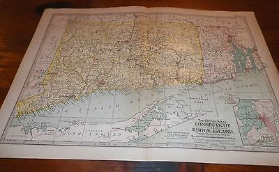 1911 Connecticut and Rhode Island The Century Atlas Map No. 10