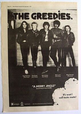 sex pistols thin lizzy THE GREEDIES 1979 Poster Ad A MERRY JINGLE