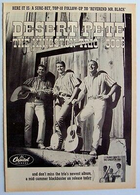 THE KINGSTON TRIO 1963 Poster Ad DESERT PETE