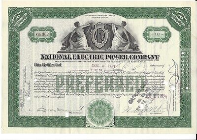National Electric Power Company....1925 Stock Certificate