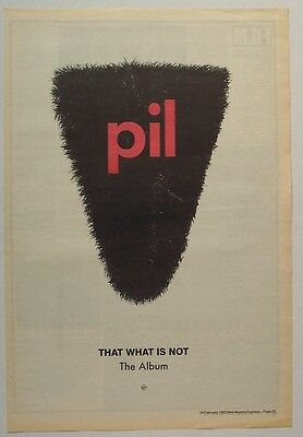PiL PUBLIC IMAGE LTD 1992 Poster Ad THAT WHAT IS NOT