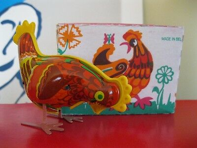 PECKING Chicken. Vintage Russian Made Tin Windup Toy.  Orig. box. Mint + key.
