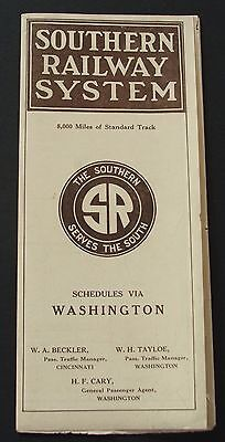 Southern Railway System Railroad 1917 Antique Vintage Timetable w/Large Map