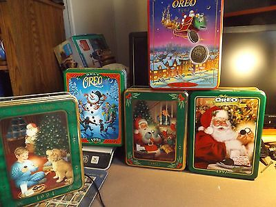 five oreo cookie tins holiday 1992 , 94 , 95 96 ,97