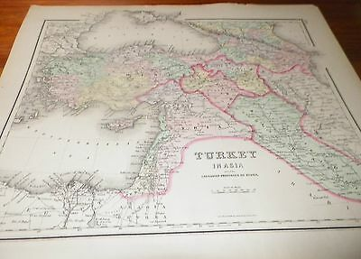 1886 (2) Old Antique Maps Turkey in Asia & Caucasian Provinces of Russia Colton