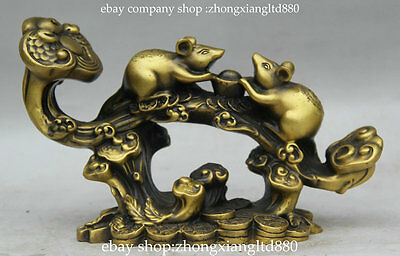 "8.8"" Chinese Copper Fengshui 12 Zodiac Year Animal Mouse Mice Ruyi Lucky Statue"
