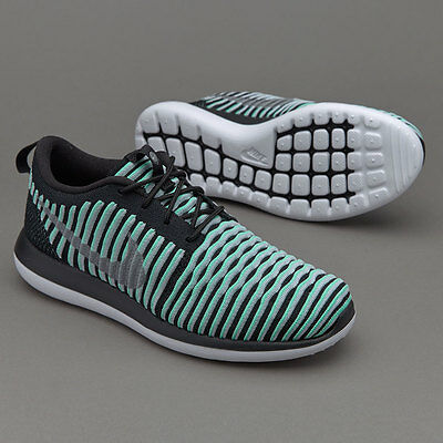 New Nike Womens Girls Trainers Roshe Two Flyknit (Gs) Uk 4 Black Silver White