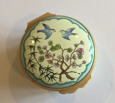 Halcyon Days Enamel Box Bluebirds Design