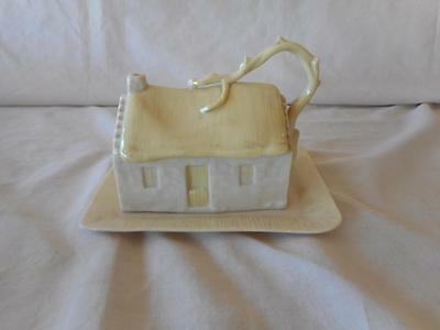 Belleek Ireland COUNTRY COTTAGE Cheese Butter Covered Dish  2nd Green Mark 1955