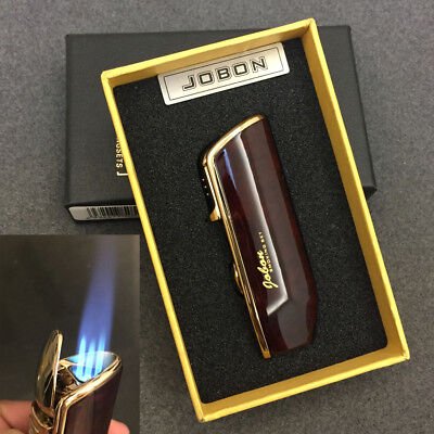 Jobon Triple Jet Flame Windproof Cigarette Torch Lighter Cigar Punch Brown Box