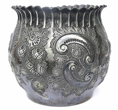Antique Victorian Repousse Jardiniere Planter - Silver Plated Packer & Co #2493