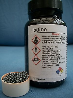 100g iodine crystals: 99.9% high purity, FOOD/PHARMACEUTICAL grade