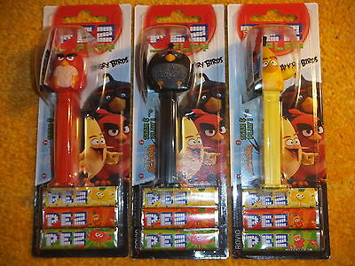 3 Pez-Angry Birds-Set Of 3- On Cards - -Low Shipping!