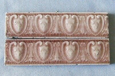 2 Antique Ceramic Border Tiles Victorian Vintage Egg and Dart c.1900