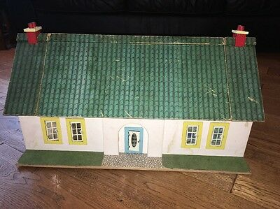 Dolls house bungalow 1960's/70's With Furniture And People