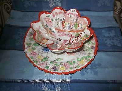 Geisha Girls Footed Bowl and Plate Hand Painted details Scalloped Rims