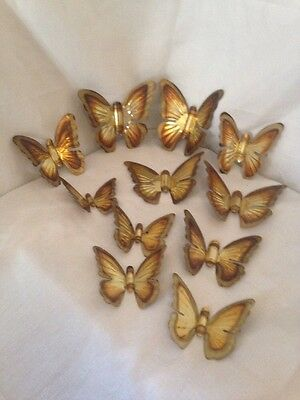 Lot Of 11 Vintage Homco  Metal Gold/Brass Double Butterfly Wall Plaques