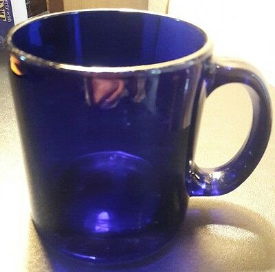 Cobalt Blue Glass Heavy Mug Cup Made in USA