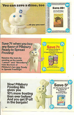 Vintage Pillsbury Doughboy Advertising Coupon Lot Uncut Frosting Quick Bread