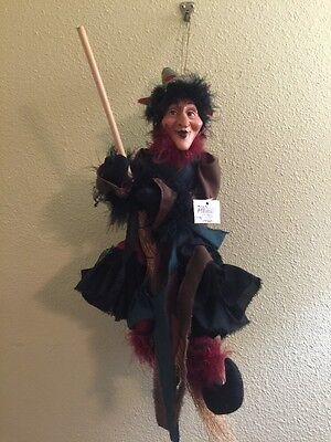 """Flying WITCH Broom Hanging 18"""" Halloween Doll Decoration Mission Gallery NWT"""