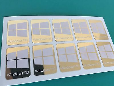 5x Windows 10 Sticker Badge White Logo Metal Chrome/Gold Mirror HD Quality USA