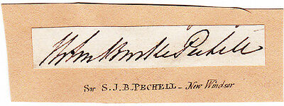 Sir Samuel Pechell Autograph - British Naval Officer - Lord of the Admiralty