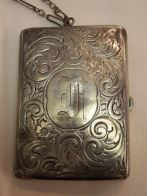 Vintage Sterling Engraved Cigarette Case/Business Card Case/Dance Card Purse