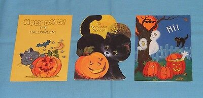 vintage HALLOWEEN GREETING CARDS lot of 3 Hallmark