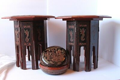 Burmese Octagonal Hand Crafted Lacquer Side Tables And Basket Set Of 3