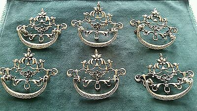Super Nice Set Of 6 Restored Antique Cast Brass Drawer Pulls Handles