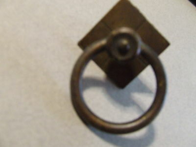 Antique Vintage Drawer Pull Brass Single Screw Ring Round (Sd3 76)