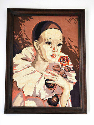Vintage French Framed Traditional Peirrette Harlequin Large Tapestry Picture
