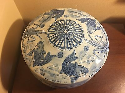 Antique Japanese Blue And White Bowl With Cover Hand Painted Fish