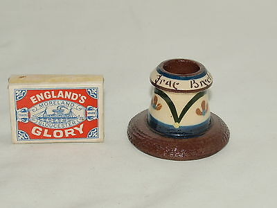 "2"" LONGPARK TORQUAY POTTERY MINIATURE MATCH STRIKER/MATCH HOLDER 'Frae Brechin'"
