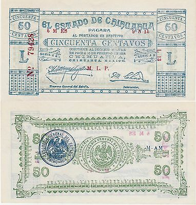 Mexico-Chihuahua,50 Centavos Banknote,1914 Uncirculated Condition Cat#S-527-A