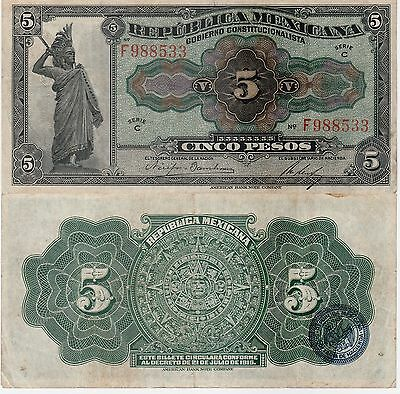 Mexico,5 Pesos Banknote,1915 Choice Fine Condition Cat#S-685-A-8533