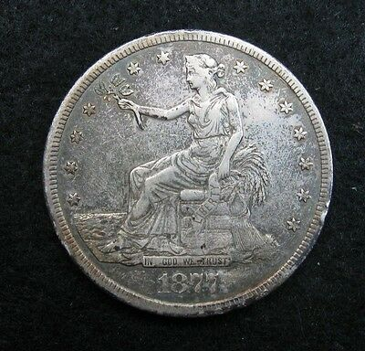 1877 S  -  TRADE Dollar  -  SILVER  -  XF+   (old Cleaning)