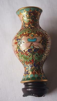 Vintage Small Chinese Cloisonne Vase - On Stand