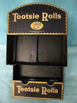 """vintage 5c """"TOOTSIE ROLLS"""" Tin Litho Store Counter DISPLAY Sign"""