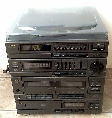 Vintage AIWA CX-57U Stereo System Turntable CD Player Duel Cassette Deck Tuner